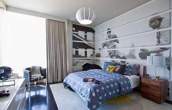 Cooles Trendy Teenager Zimmer Für Jungen Blau Bettwäsche