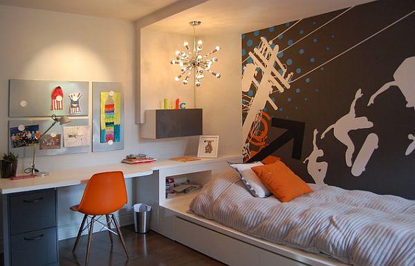 Cooles trendy Teenager Zimmer für Jungen - moderne Einrichtung