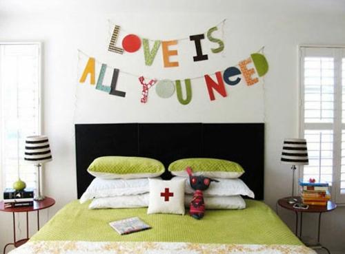 deko ideen mit worten girlande kette schlafzimmer