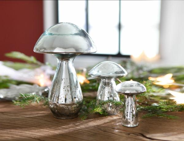 der landhausstil glänzende figuren pilze dekoration