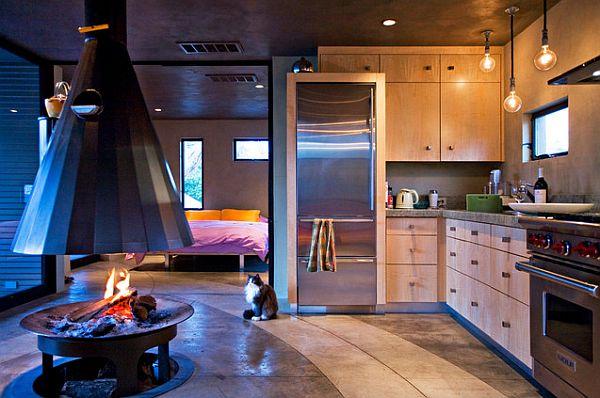 designer küchen schränke idee knopf griff modern dunkles ambiente