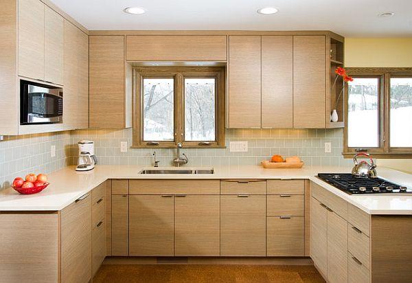 designer küchen schränke idee knopf griff naturholz oberflächen