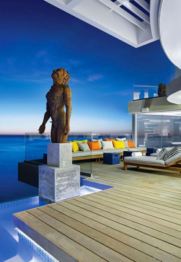 designer neu gestaltetes apartment atlantisch ozean statue