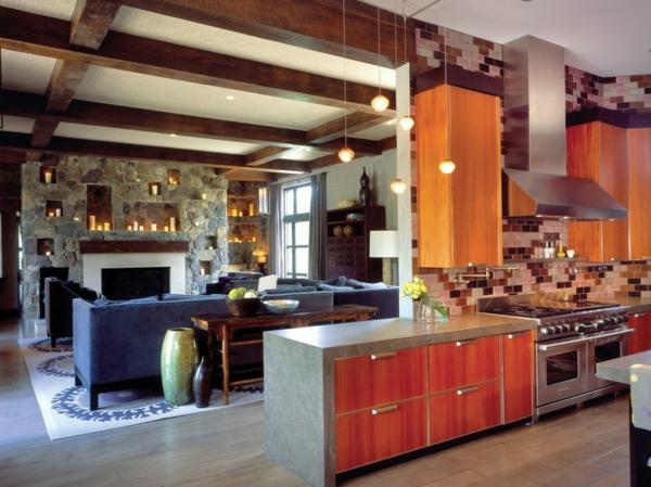 die alte küche renovieren steinwand idee pendelleuchten kochherd