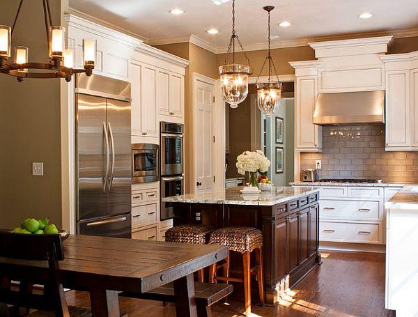 die küche preisgünstig renovieren holz hängelampen modern kühlschrank