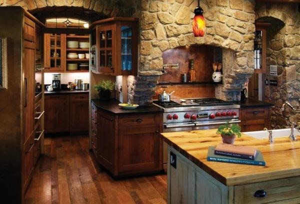 die küche preisgünstig renovieren stein wände holzplatten