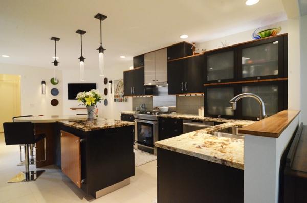 Die alte Küche renovieren pendelleuchten schwarze küchen oberflchäche schrank