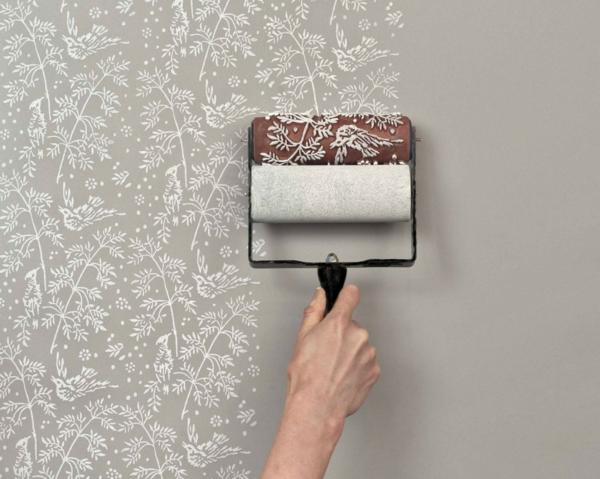 die wände zu hause streichen bürsten floral ziermuster