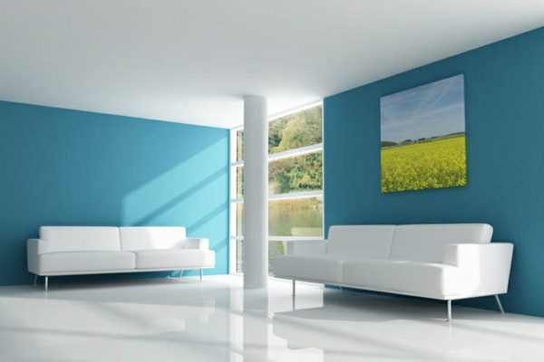 die wände zu hause streichen blau farbe wohnzimmer