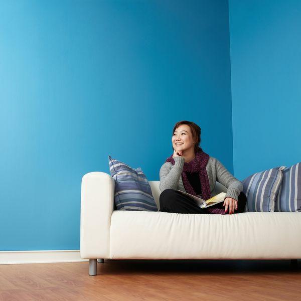 Die Wände Zu Hause Streichen Blau Idee Wohnzimmer