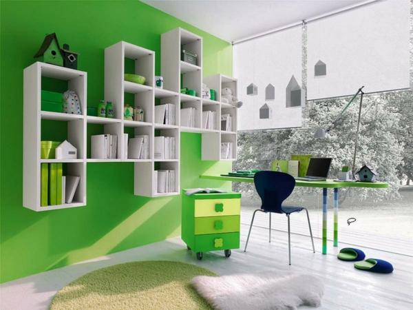 die wände zu hause streichen grün wohnzimmer bürotisch