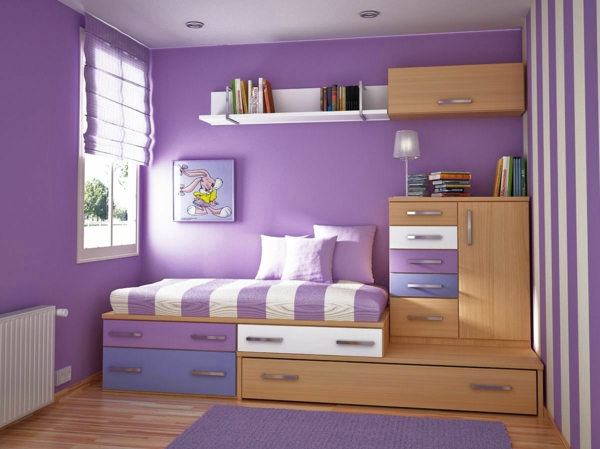 die wände zu hause streichen lila kinderzimmer