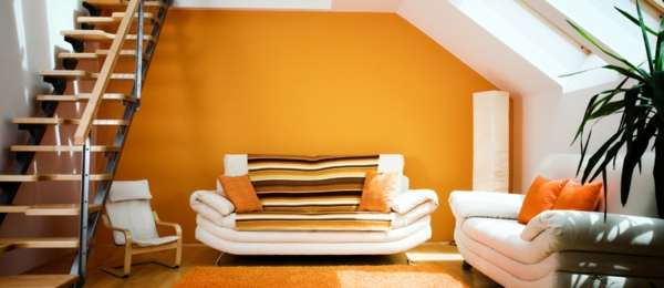 die wände zu hause streichen orange treppenhaus wohnzimmer