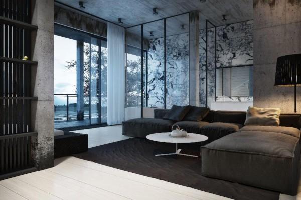 dynamische moderne interior designs dramatisches beton wand wohnzimmer