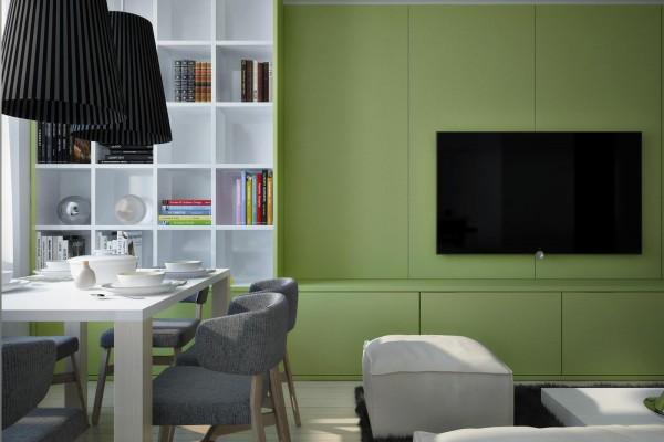 schöne interior designs dramatisches grün wände