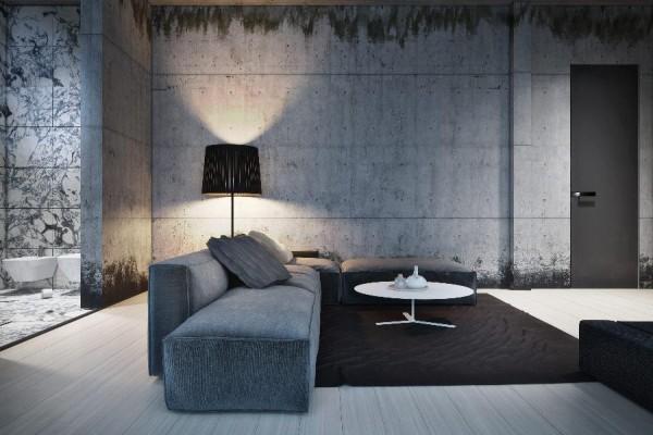 dynamische moderne interior designs graue beton wand