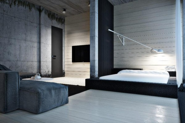 dynamische moderne interior designs schlafzimmer holzbelag