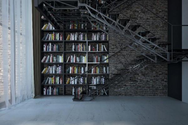 dynamische moderne interior designs treppenhaus haus bibliothek