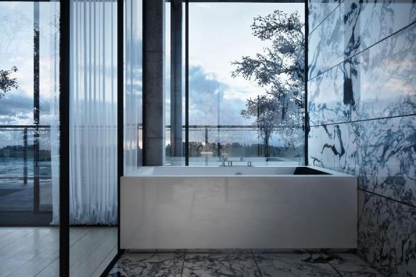 dynamische moderne interior designs weiß badewanne quadratisch