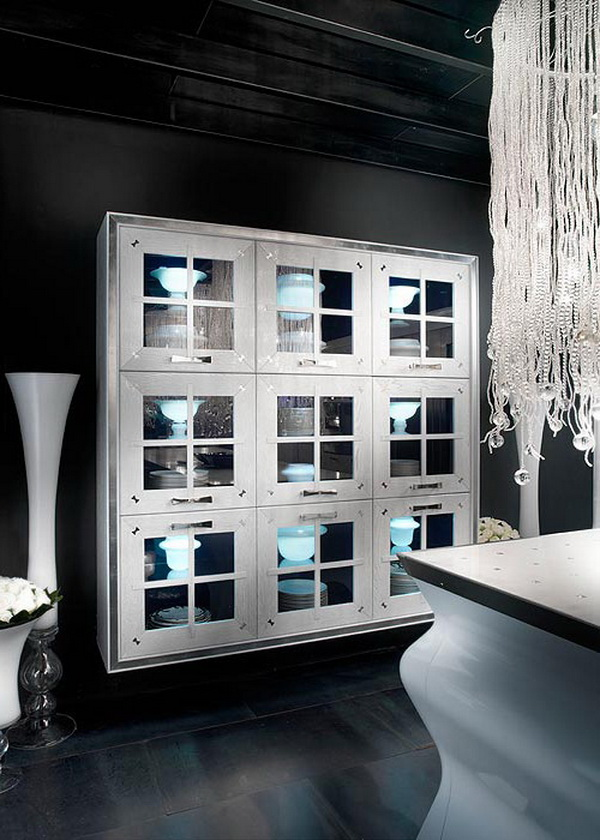 elegante außergewöhnliche designer küchenschrank kunstwerk