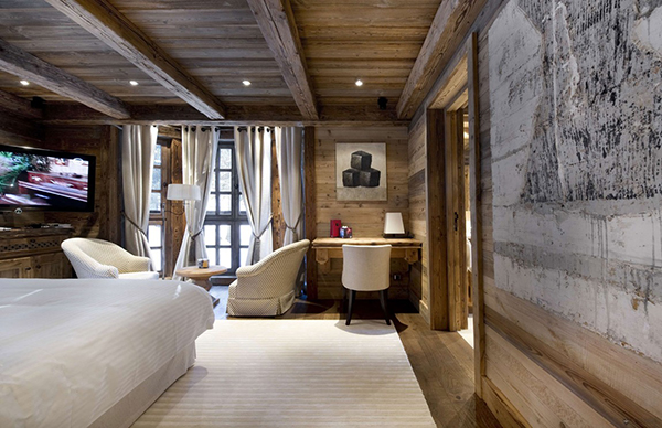 rustikales berghütte design tisch sessel teppich schlafzimmer