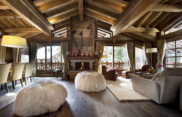 elegantes berghütte design weich hocker texturen