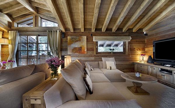 elegantes berghütte design wohnbereich sofa
