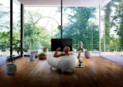 erholsames zuhause einrichten modern glaswände stehlampe liege