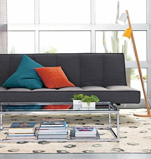 erstaunliche trendy lampen ideen sofa kissen orange blau
