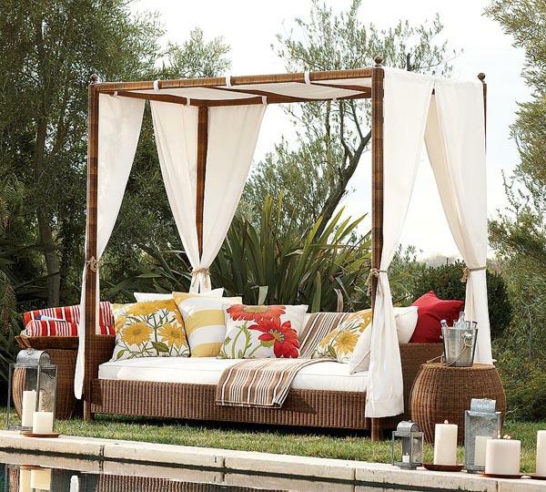 Extravagante attraktive outdoor Bereich Neugestaltung himmelbett rattan