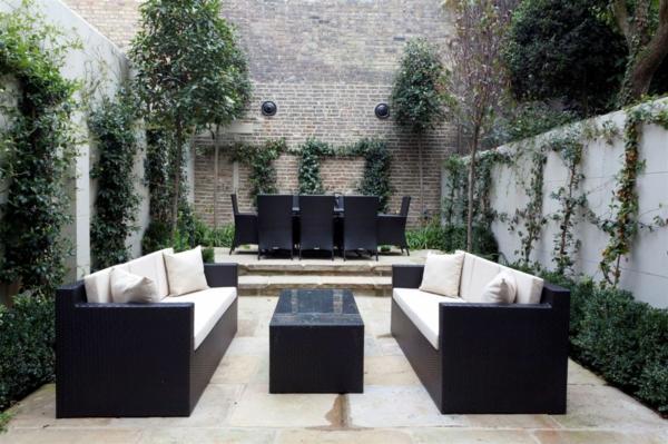 extravagante attraktive outdoor neugestaltung gartenmöbel weiß auflagen