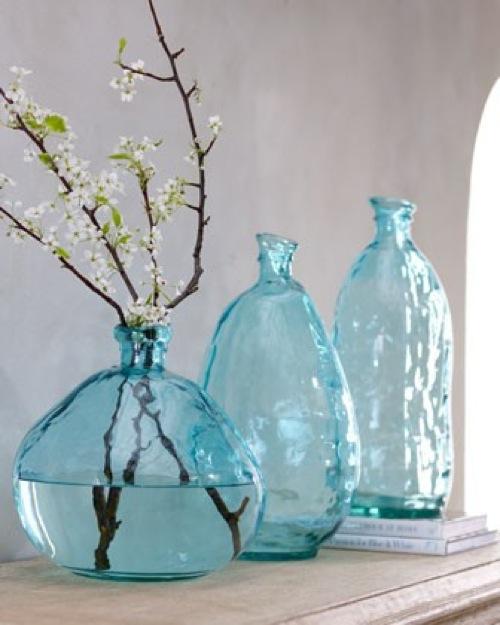 frische coole sommerliche zubehör türkisfarben glas vasen horchow
