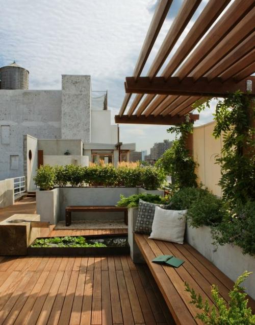 frischen dach garten gestalten holz bodenbelag