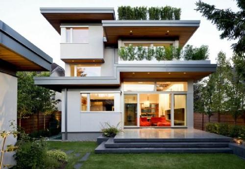 frischen dach garten gestalten strauch modern gebäude design