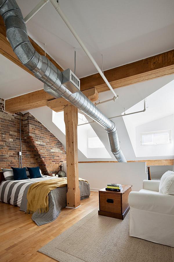 gemütliches schlafzimmer design im dachgeschoss einrichten industriell stil