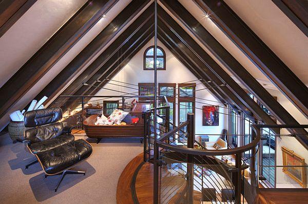 gemütliches schlafzimmer design im dachgeschoss einrichten ledersessel