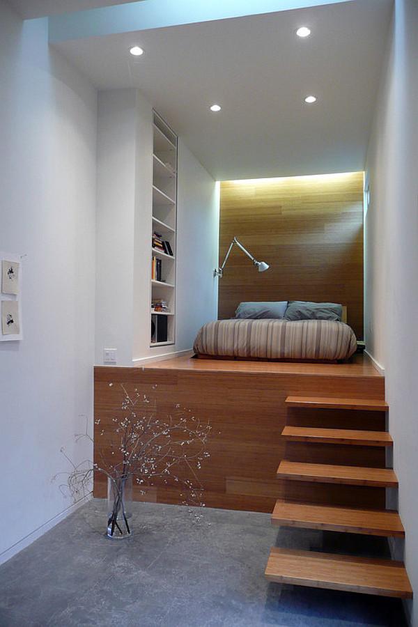 schönes schlafzimmer design im dachgeschoss treppe