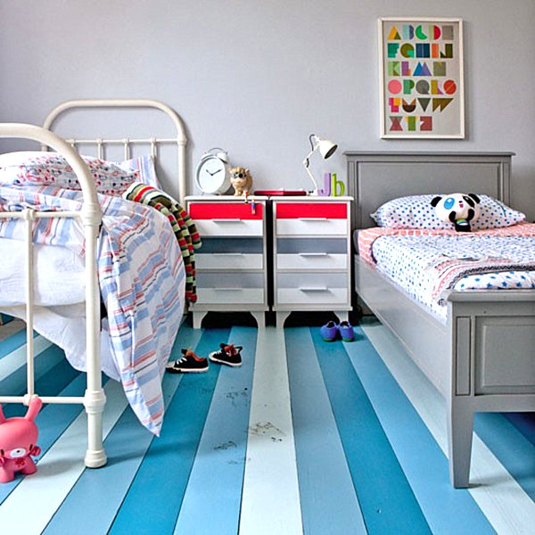 Gemalte Boden Belag Ideen Blau Weiß Streifen Kinderzimmer