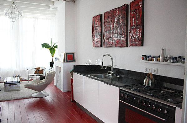 Gemalte Boden Belag Ideen Rot Küche Arbeitsplatte