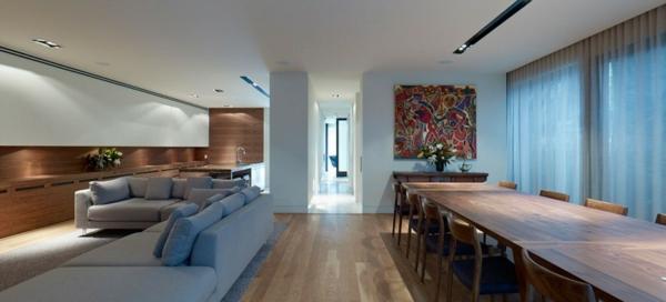 Großes Modernes Haus Wohnzimmer Esszimmer Ecksofa Blau
