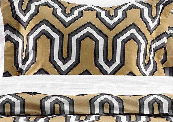 herbstliche bett wäsche designs geometrische wäsche zitronenfarben grau