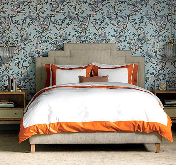 herbstliche Bettwäsche Designs im Schlafzimmer idee kanten orange