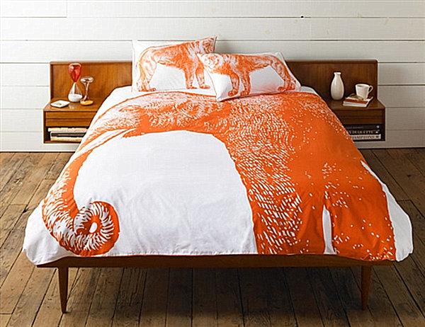 herbstliche Bettwäsche Designs im Schlafzimmer  idee orange elefant muster