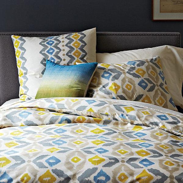herbstliche Bettwäsche Designs im Schlafzimmer ikat stil muster
