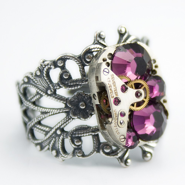 herrlicher swarovski schmuck ring lila steampunk