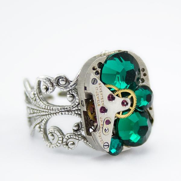 herrlicher swarovski schmuck ring smaragd grün