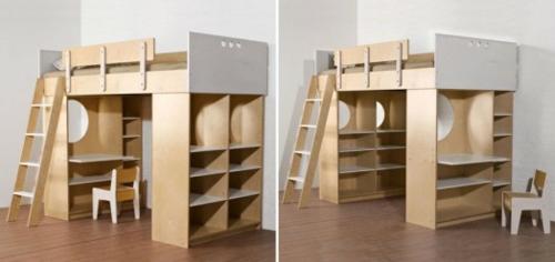 Kinderhochbett design  Kinder Hochbett mit Schreibtisch und Lagerschränken ausgestattet