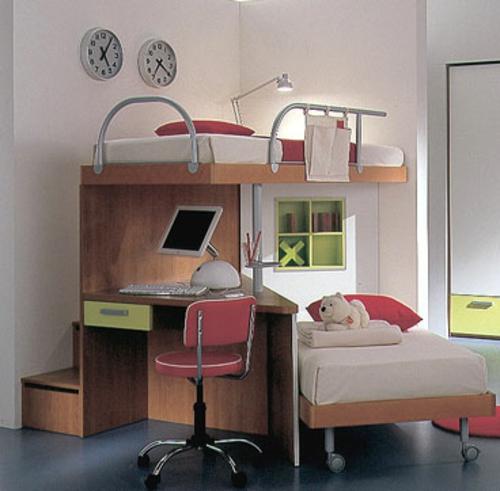kinder hochbett mit schreibtisch und lagerschr nken ausgestattet. Black Bedroom Furniture Sets. Home Design Ideas