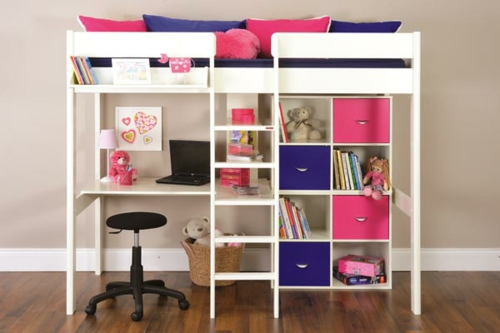 Kinder hochbett mit schreibtisch und lagerschr nken for Schreibtisch mit vielen schubladen