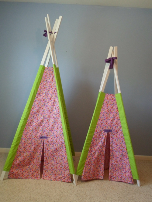 interessante zelt camping rosa grün holz stangen kinder